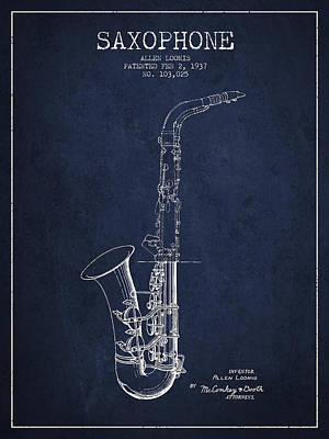 Saxophone Patent Drawing From 1937 - Blue Poster