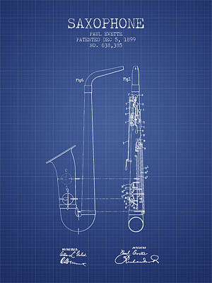 Saxophone Patent From 1899 - Blueprint Poster by Aged Pixel