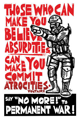 Say No More To Permanent War Poster by Ricardo Levins Morales