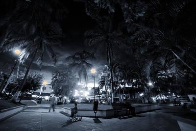 Sayulita Plaza At Night Poster by Camilla Fuchs