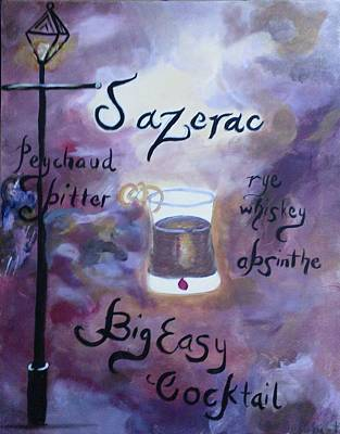 Sazerac Big Easy Cocktail Poster by Marian Hebert