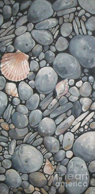 Scallop Shell And Black Stones Poster by Mary Hubley