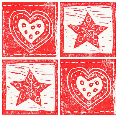 Scandinavian Hearts And Stars Poster