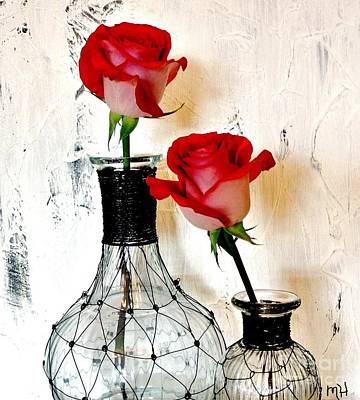 Scarlet Red Roses Poster by Marsha Heiken