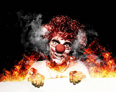 Scary Clown Holding Blank Board In Flames And Fire Poster