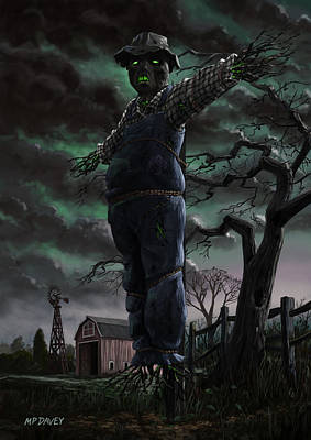 Scary Scarecrow In Field Poster