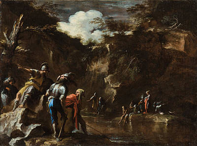 Scene From Greek History. Thales Causing The River To Flow On Both Sides Of The Lydian Army Poster by Salvator Rosa