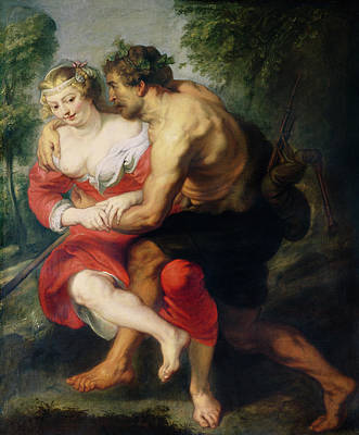 Scene Of Love Or, The Gallant Conversation Oil On Canvas Poster by Peter Paul Rubens