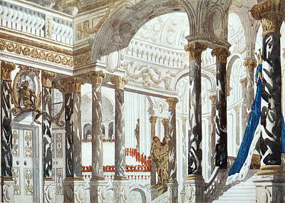 Scenery Design For The Baptism Poster by Leon Bakst