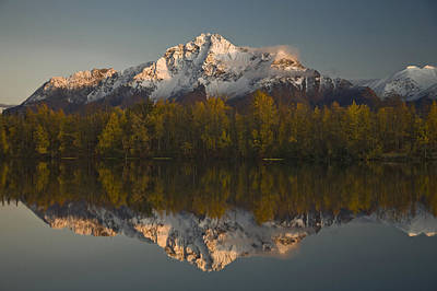 Scenic View Of Pioneer Peak Reflecting Poster by Hal Gage