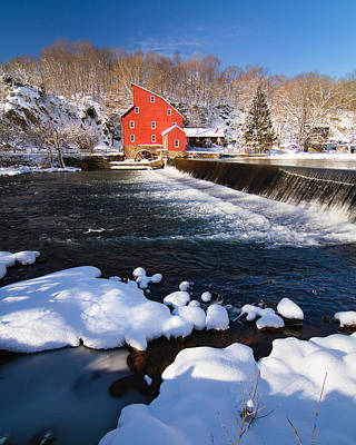Scenic Winter View Of A Waterfall And A Red Mill Poster by George Oze