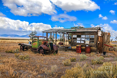 Schellbourne Station And Vintage Truck Poster by Robert Bales