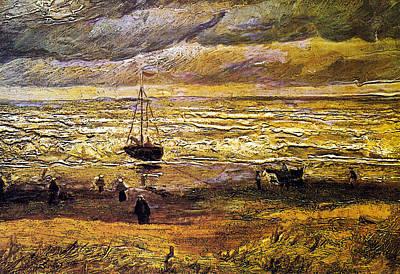 Scheveningen Beach In Stormy Weather Poster