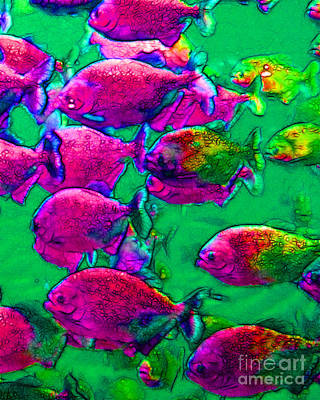 School Of Piranha V2 Poster by Wingsdomain Art and Photography
