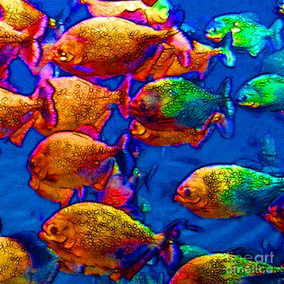 School Of Piranha V3 - Square Poster by Wingsdomain Art and Photography