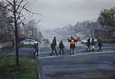 Poster featuring the painting School Traffic by Helal Uddin