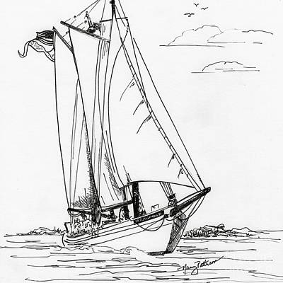 Schooner On The Bay 2  Poster by Nancy Patterson