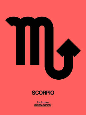 Scorpio Zodiac Sign Black Poster by Naxart Studio