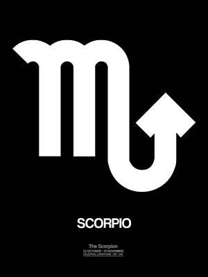 Scorpio Zodiac Sign White Poster by Naxart Studio