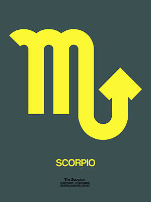 Scorpio Zodiac Sign Yellow Poster by Naxart Studio
