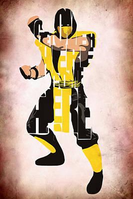 Scorpion - Mortal Kombat Poster by Ayse Deniz