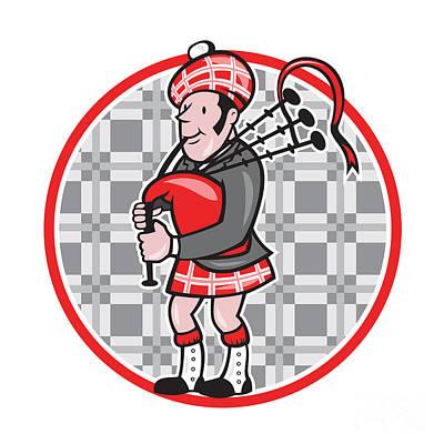 Scotsman Bagpiper Playing Bagpipes Cartoon Poster