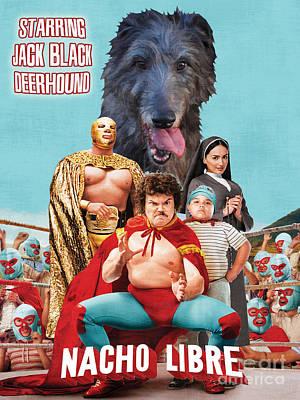 Scottish Deerhound Art - Nacho Libre Movie Poster Poster by Sandra Sij