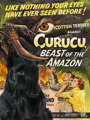 Scottish Terrier Art Canvas Print - Curucu Movie Poster Poster by Sandra Sij