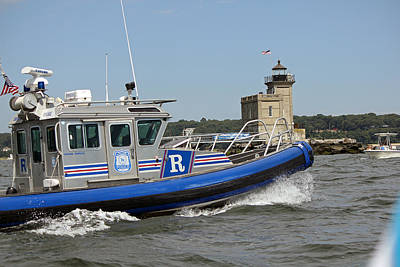 Scpd Boat @ Huntington Lighthouse Poster