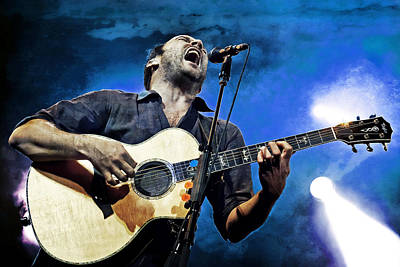 Dave Matthews Screaming On Guitar In Blue Poster by Jennifer Rondinelli Reilly - Fine Art Photography