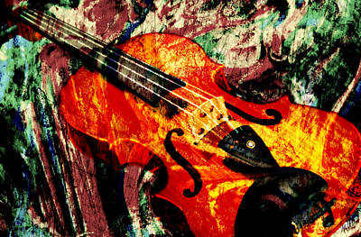 Poster featuring the mixed media Scribbled Fiddle by Ally  White