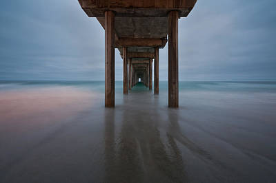 Scripps Pier Soft Blue Poster by Peter Tellone