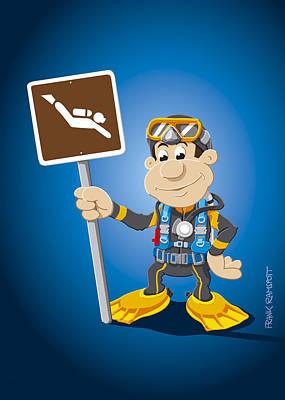Scuba Diver Cartoon Man Diving Sign Poster by Frank Ramspott