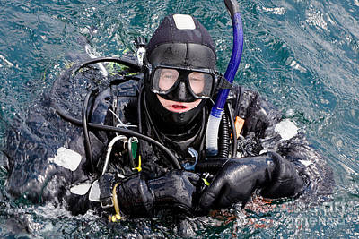 Scuba Diver In Water Poster