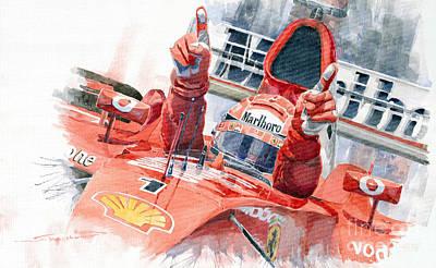 2001 Scuderia Ferrari Marlboro F 2001 Ferrari 050 M Schumacher  Poster by Yuriy  Shevchuk