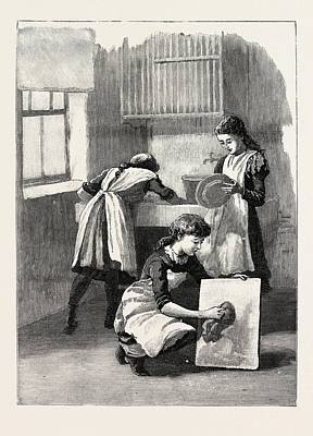 Scullery Work, Washing Up, School, London Poster