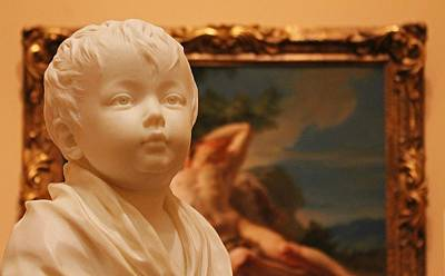 Sculpted Child In Museum 2 Poster by Michael Saunders