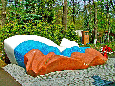 Sculpture At Boris Yeltsin's Gravesite In New Maiden Cemetery In Moscow-russia Poster by Ruth Hager