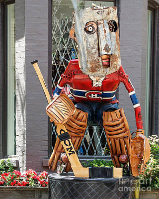 Sculpture Of Hockey Goalie Poster by Dave Hood
