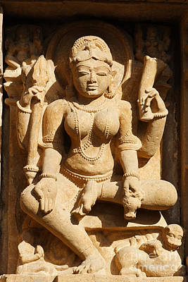 Sculpture On The Lakshmana Temple At Khajuraho In India Poster