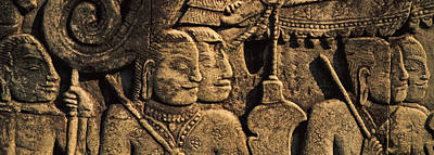 Sculptures In A Temple, Bayon Temple Poster