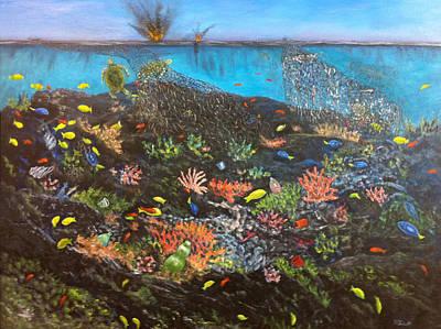 Poster featuring the painting Sea Assault by Karen Zuk Rosenblatt