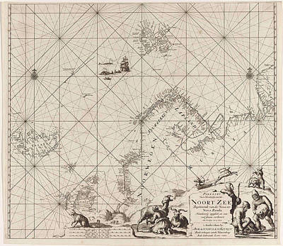 Sea Chart Of Northern Part Of Atlantic And Arctic Ocean Poster by Jan Luyken And Johannes Van Keulen I
