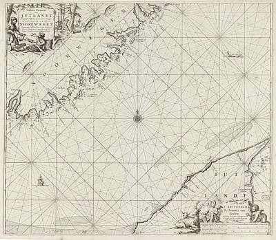 Sea Chart Of Part Of The Coast Of Norway And Jutland Poster