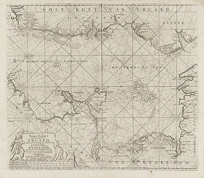 Sea Chart Of Part Of The Irish Sea Between Ireland Poster by Jan Luyken