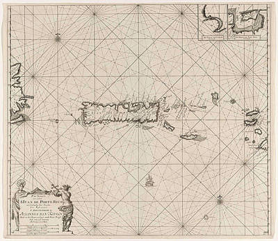 Sea Chart Of Puerto Rico, Jan Luyken, Claes Jansz Voogt Poster by Jan Luyken And Claes Jansz Voogt And Johannes Van Keulen (i)