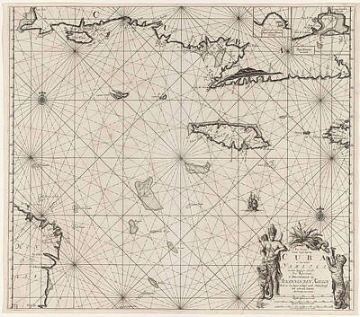 Sea Chart Of The South Coast Of Cuba And Jamaica Poster by Jan Luyken And Claes Jansz Voogt And Johannes Van Keulen (i)