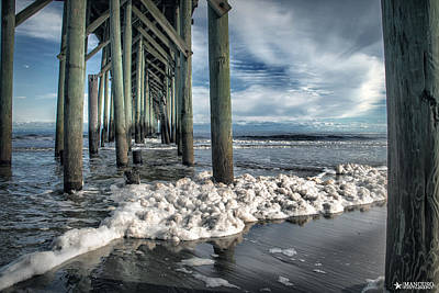 Sea Foam And Pier Poster by Phil Mancuso