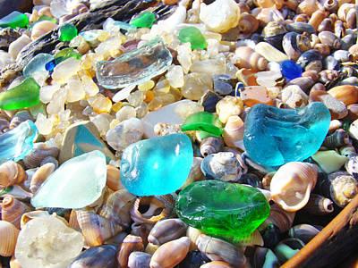 Sea Glass Blue Green Art Prints Shells Coastal Poster