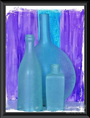 Sea Glass Bottles Made In India Poster by Marsha Heiken